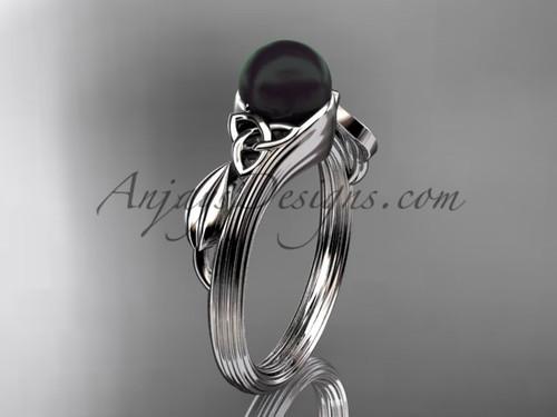 Black Pearl Celtic Engagement Ring White Gold Ring CTBP7324