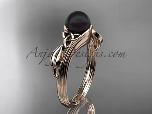 Black Pearl Celtic Engagement Ring Rose Gold Ring CTBP7324