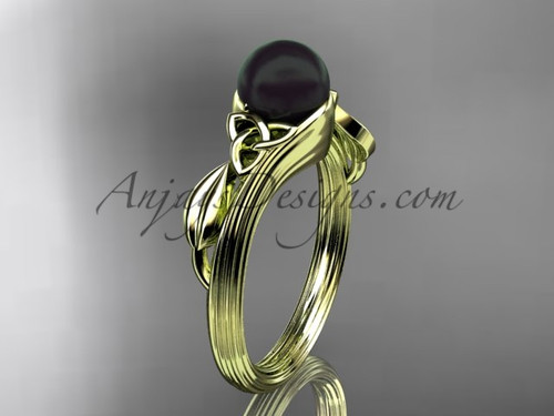 Black Pearl Celtic Engagement Ring Yellow Gold Ring CTBP7324