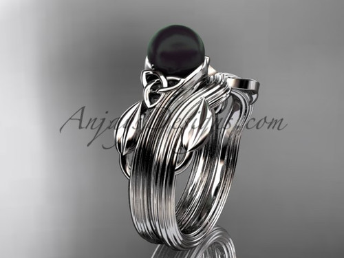 Black Pearl Celtic Wedding Set White Gold Ring CTBP7324S