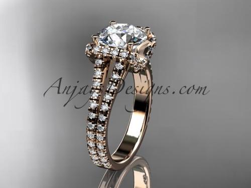 14kt rose gold diamond unique engagement ring, wedding ring ADER107