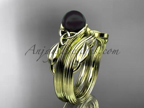 Black Pearl Celtic Wedding Set Yellow Gold Ring CTBP7324S