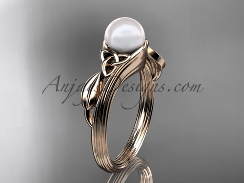 Pearl Celtic Engagement Ring Rose Gold Wedding Ring CTP7324