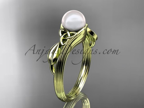 Pearl Celtic Engagement Ring Yellow Gold Bridal Ring CTP7324