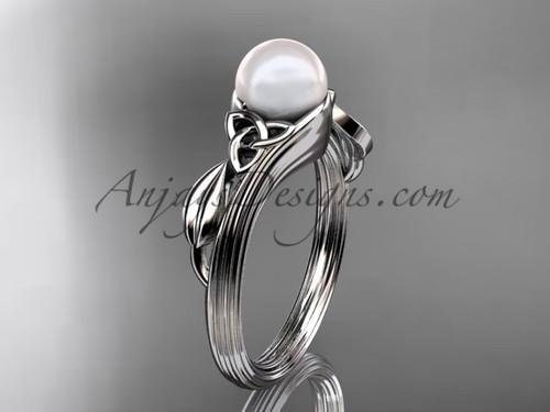 Pearl Celtic Engagement Ring Platinum Wedding Ring CTP7324