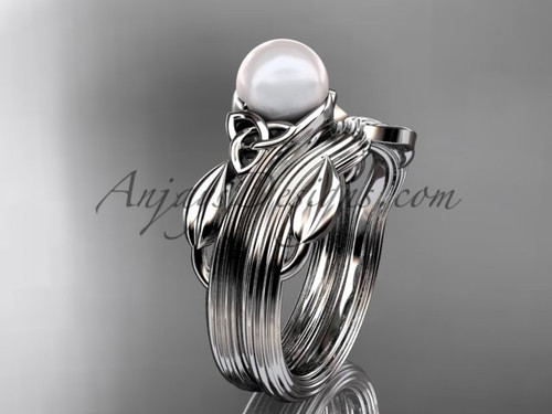 Pearl Celtic Wedding Set White Gold Engagement Ring CTP7324S