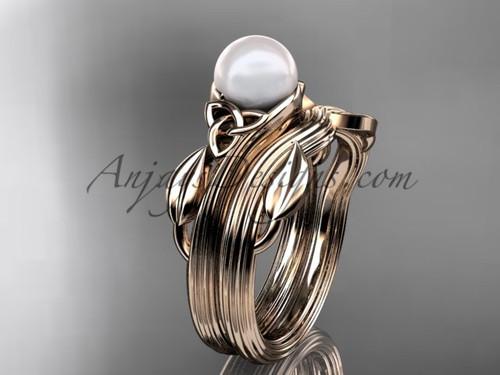 Pearl Celtic Wedding Set Rose Gold Engagement Ring CTP7324S