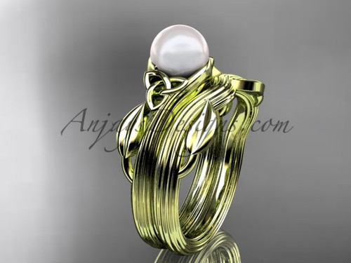 Pearl Celtic Wedding Set Yellow Gold Bridal Ring CTP7324S