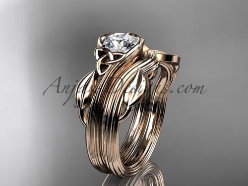 Celtic Wedding Set Rose Gold Leaf Moissanite Ring CTP7324S
