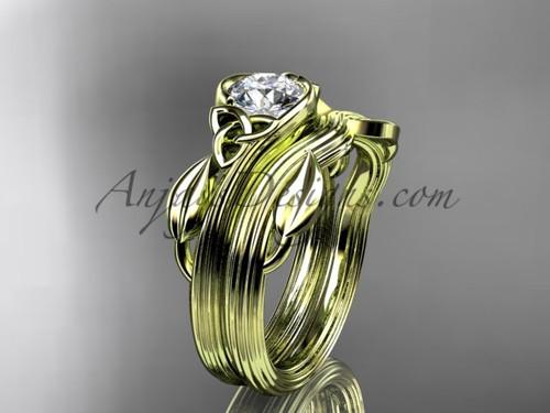 Celtic Wedding Set Yellow Gold Leaf Moissanite Ring CTP7324S