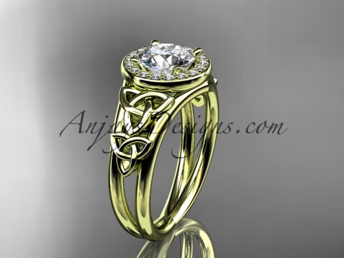 """14kt yellow gold diamond celtic trinity knot wedding ring, engagement ring with a """"Forever One"""" Moissanite center stone CT7131"""