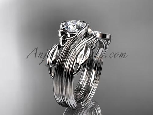 Celtic Wedding Set Platinum Leaf Moissanite Ring CTP7324S