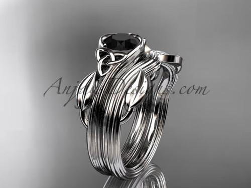 Celtic Wedding Set White Gold Black Diamond Ring CTP7324S
