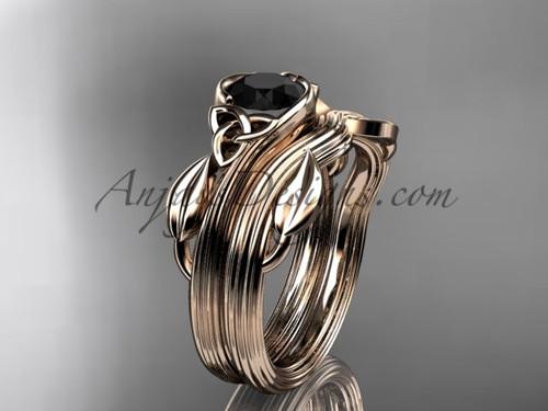 Celtic Wedding Set Rose Gold Black Diamond Ring CTP7324S