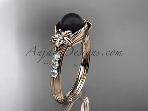 Rose Gold Black Pearl Flower Engagement Ring With Diamonds ABP333