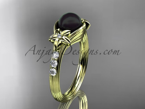Yellow Gold Black Pearl Floral Engagement Ring With Diamonds ABP333