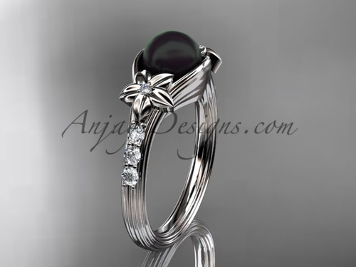 White Gold Black Pearl Engagement Ring With Diamonds ABP333