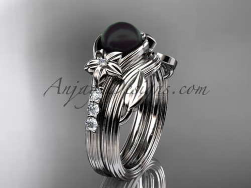 Diamonds and black pearl amazing  wedding set 14kt white gold floral engagement ring ABP333S