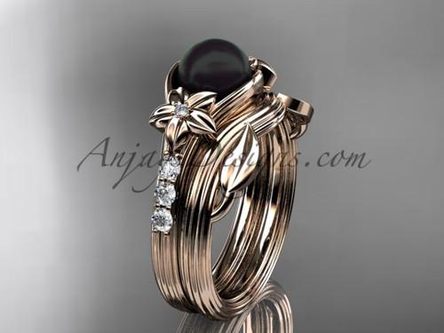 Rose Gold Black Pearl Wedding Set With Diamonds ABP333S
