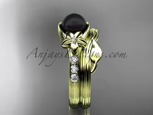 Diamonds and black pearl amazing  wedding set 14kt yellow gold floral engagement ring ABP333S