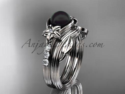 Diamonds and black pearl solitaire wedding set platinum floral engagement ring ABP333S
