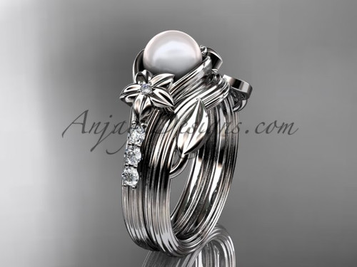 Diamonds and pearl amazing  wedding set 14kt white gold floral engagement ring AP333S