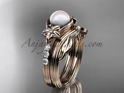Rose Gold Pearl Wedding Set With Diamonds AP333S