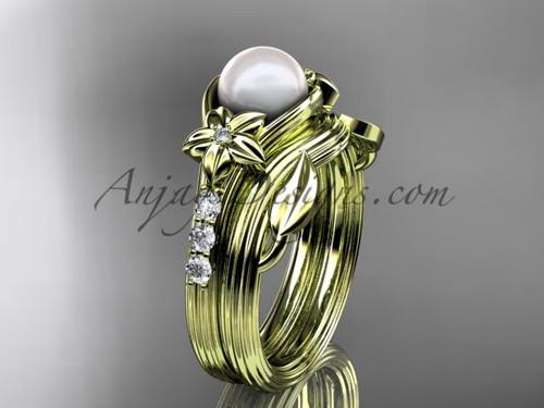 Yellow Gold Pearl Wedding Set With Diamonds AP333S