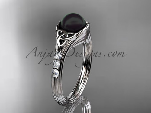 Diamond black pearl celtic knot engagement ring 14kt white gold wedding ring CTBP7333