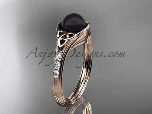 Rose Gold Black Pearl Celtic Knot Engagement Ring CTBP7333