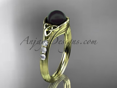 Yellow Gold Black Pearl Celtic Knot Engagement Ring CTBP7333
