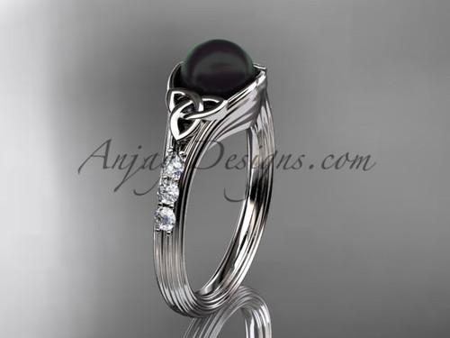 Platinum Black Pearl Celtic Knot Engagement Ring CTBP7333