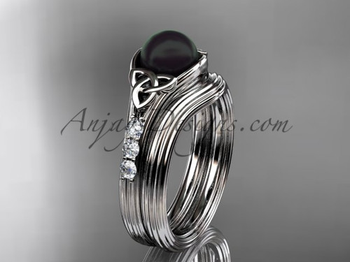 White Gold Black Pearl Celtic Knot Wedding Set CTBP7333S