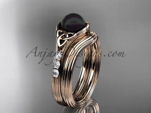 Rose Gold Black Pearl Celtic Knot Wedding Set CTBP7333S