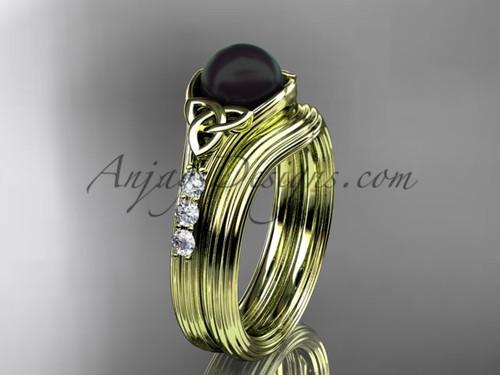 Yellow Gold Black Pearl Celtic Knot Wedding Set CTBP7333S