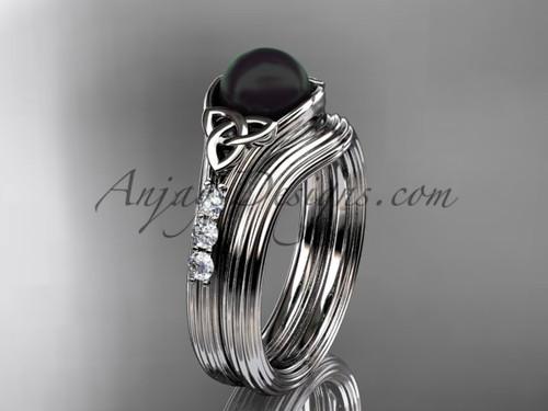 Platinum Black Pearl Celtic Knot Wedding Set CTBP7333S