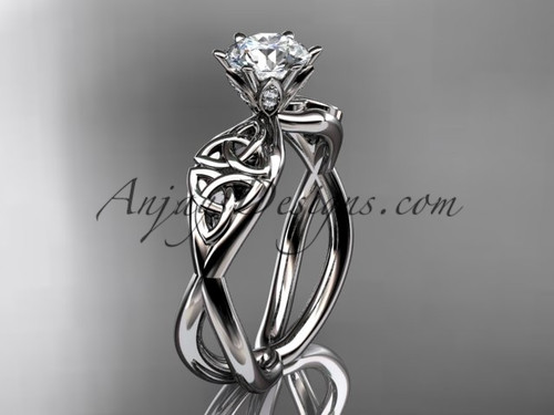 Platinum celtic trinity knot engagement ring with a Moissanite center stone CT7221