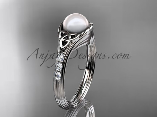 White Gold Pearl Celtic Knot Engagement Ring CTP7333
