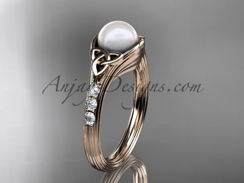 Rose Gold Pearl Celtic Knot Engagement Ring CTP7333