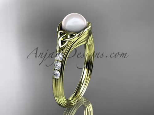 Yellow Gold Pearl Celtic Knot Engagement Ring CTP7333
