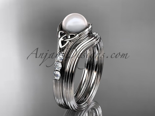 White Gold Pearl Celtic Knot Wedding Set CTP7333S