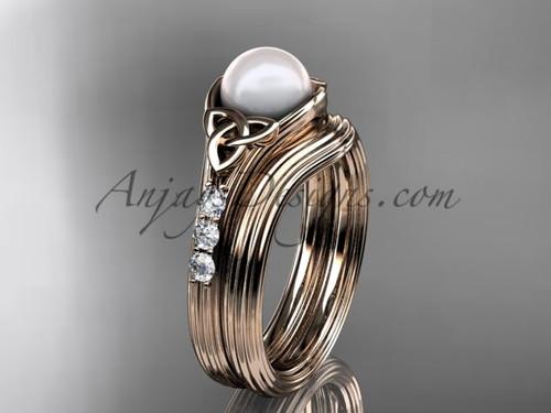 Rose Gold Pearl Celtic Knot Wedding Set CTP7333S