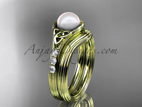 Yellow Gold Pearl Celtic Knot Wedding Set CTP7333S