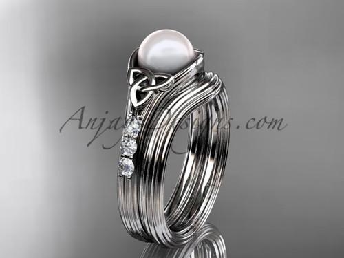 Platinum Pearl Celtic Knot Wedding Set CTP7333S