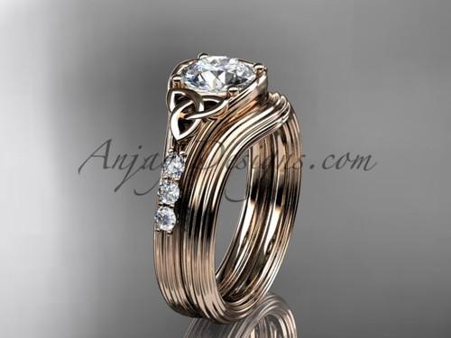 Diamond Celtic Triquetra Knot Rose Gold Wedding Set CT7333S