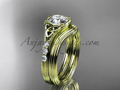 Moissanite Celtic wedding sets, 14kt Yellow gold diamond  triquetra knot engagement ring CT7333S