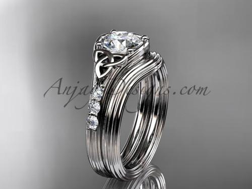 Moissanite Celtic Trinity Knot White Gold Wedding Set CT7333