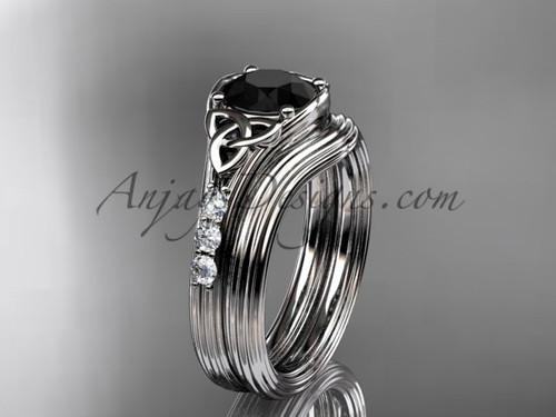 Black Diamond Celtic Knot White Gold Bridal Set CT7333S