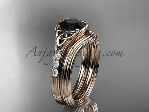 Black Diamond Celtic Knot Rose Gold Bridal Set CT7333S