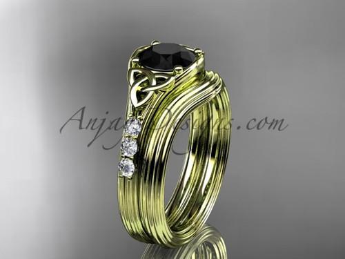 Black Diamond Celtic Knot Yellow Gold Bridal Set CT7333S